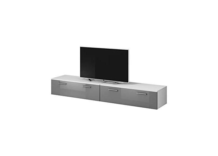 E-com TV Unit Cabinet Stand Boston Body Matte White/Front Grey High gloss (200 cm (2 x 100 cm)) - 1