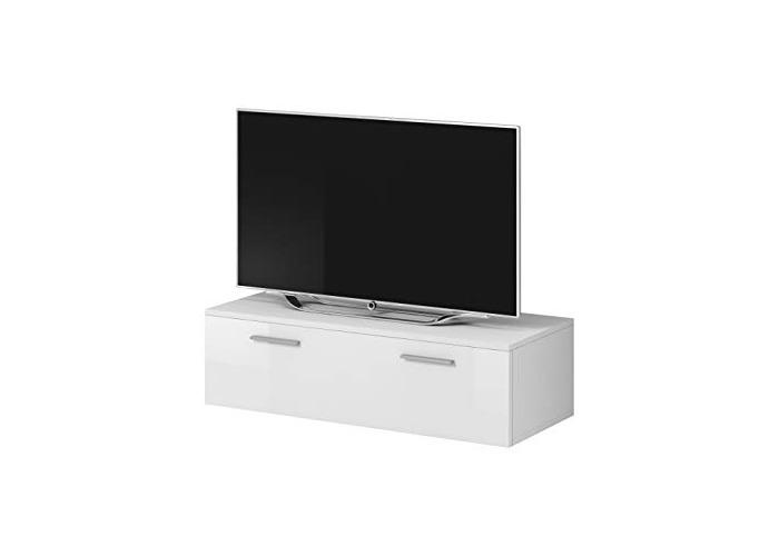 E-com TV Unit Cabinet Stand Boston Body Matte White/Front White High gloss (100 cm) - 1