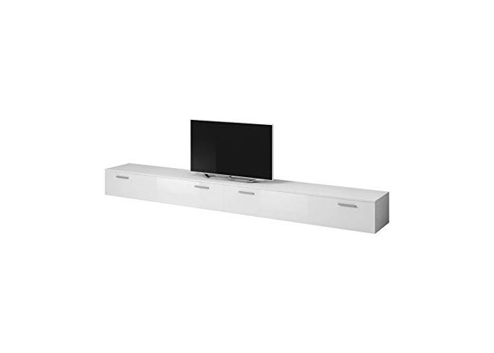 E-com TV Unit Cabinet Stand Boston Body Matte White/Front White High gloss (300 cm (2 x 150 cm)) - 1