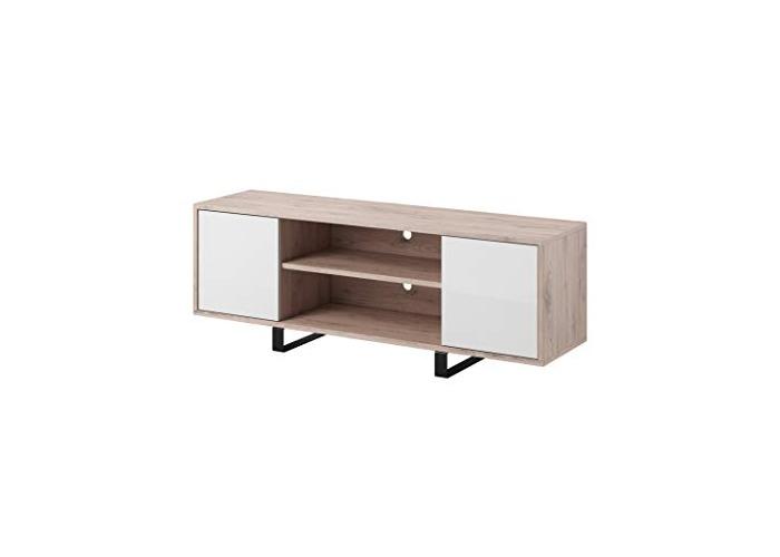 E-com TV Unit Cabinet Stand Rosa Body Oak (San Remo)/Front White High gloss 150 cm - 1