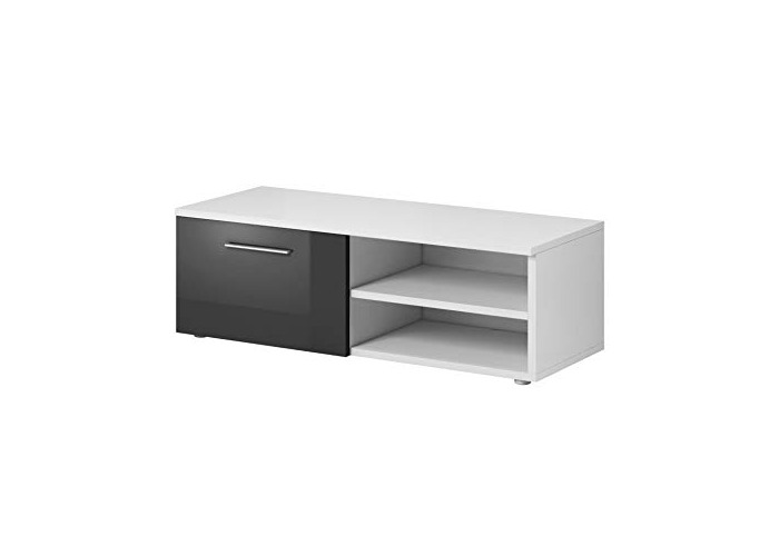 E-com TV Unit Cabinet Stand Vegas 90 cm Body Matte White/Fronts High gloss Grey - 1