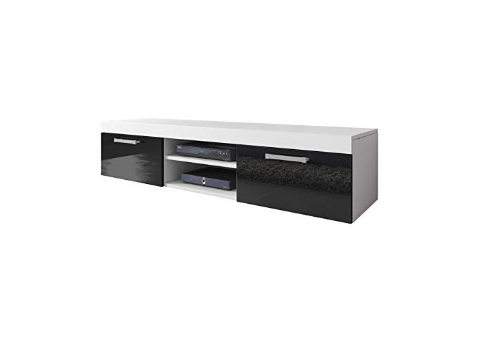 E-com TV Unit Cabinet TV Stand Entertainment Lowboard Mambo (White Matte Body/Black Front High Gloss, 140cm) - 1