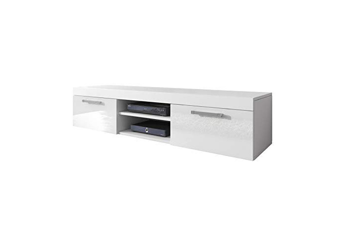 E-com TV Unit Cabinet TV Stand Entertainment Lowboard Mambo (White Matte Body/White Front High Gloss, 140cm) - 1