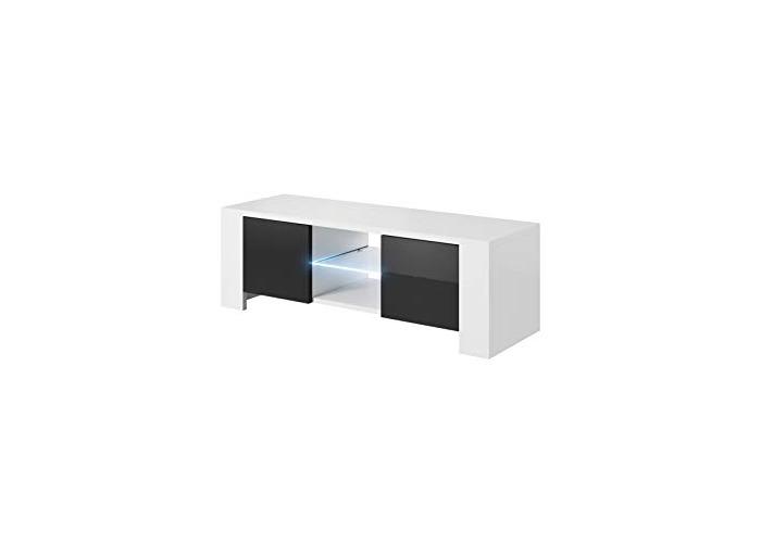 E-com TV Unit Lux Body Matte White/Front Black High gloss 130 cm With Blue LED - 1