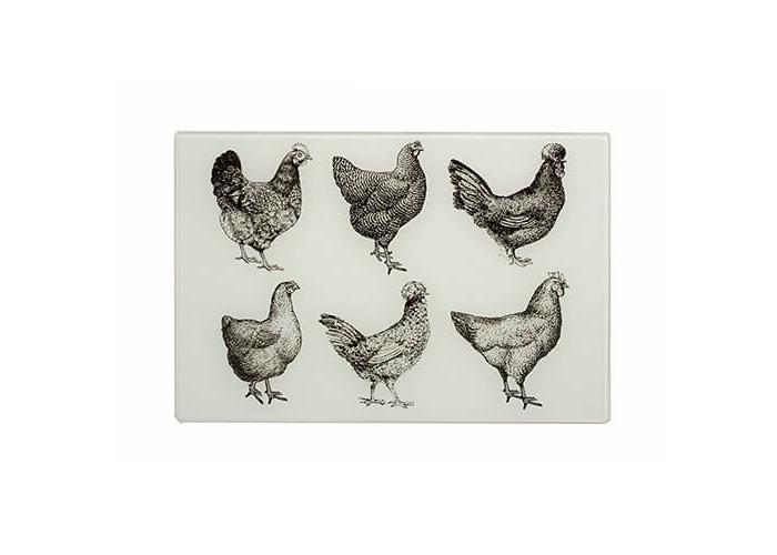 Eddingtons Cockerel & Hen Small Black & Cream Worktop Saver 30 x 20cm - 1
