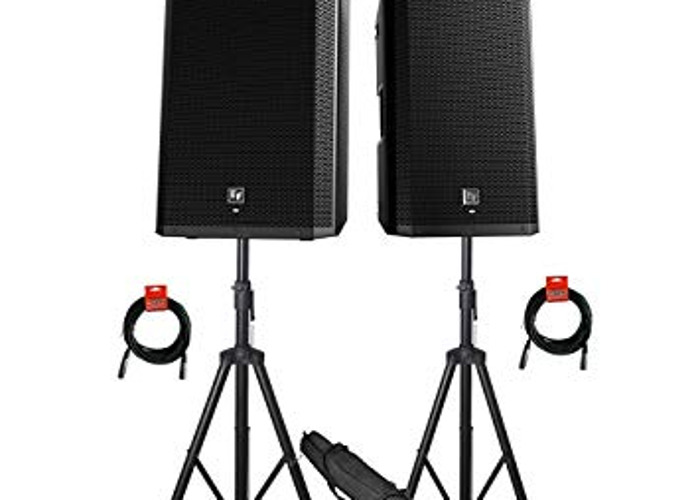 2X Electro-Voice ZLX-15P 15'' Powered + Stands + Bag - 1