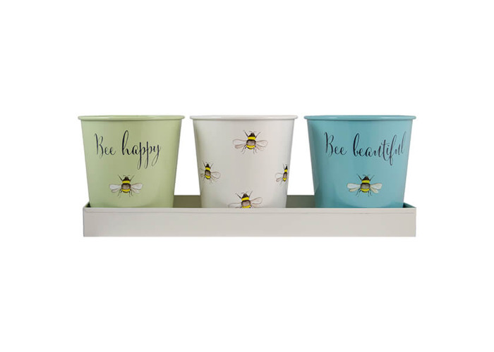 English Tableware Company Bee Happy Painted Steel 3 Pots with Tray - 1