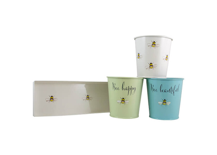 English Tableware Company Bee Happy Painted Steel 3 Pots with Tray - 2