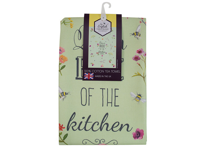 English Tableware Company Bee Happy 'Queen Bee of the Kitchen' Green Tea Towel - 1
