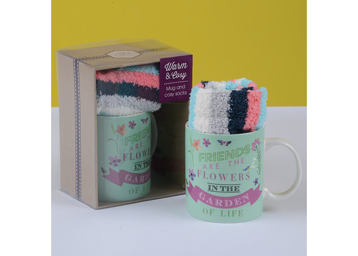 English Tableware Company Friends Are The Flowers In The Garden Of Life Mug & Sock Set - 1