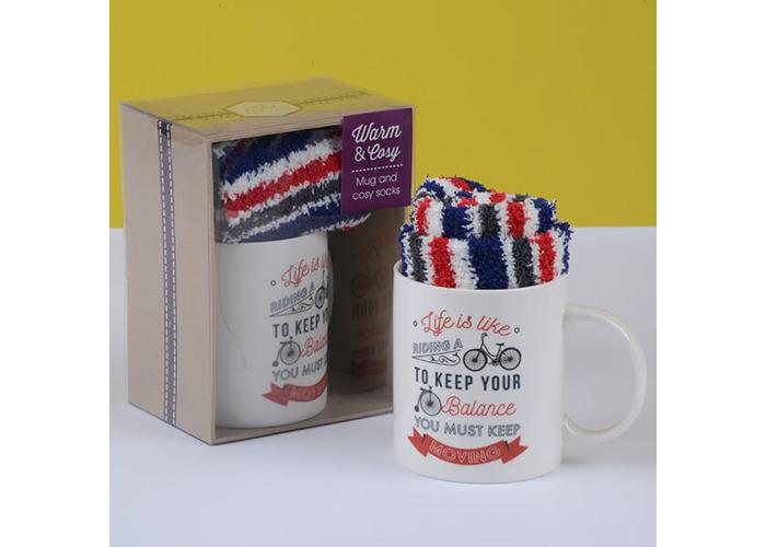 English Tableware Company Life Is Like Riding A Bike Mug & Sock Set - 1