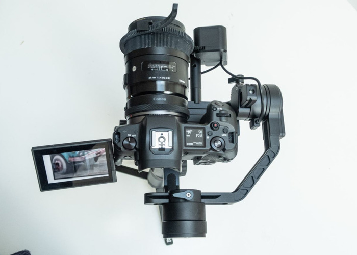 EOS R + Crane 2 Gimbal w/Focus + handle bars, monitor support clamp and extension plate for C200, 1DX - 1