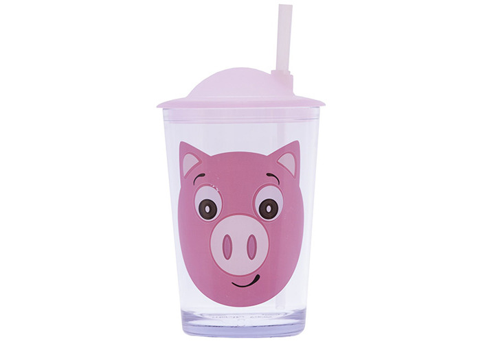 Epicurean 39RQ097P Acrylic SAN Friendly Faces Children's Pink Pig Design Tumbler with Straw Lid, 7.5 x 7.5 x 14.2 cm, Clear - 1