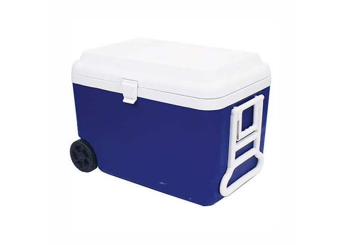 Epicurean Europe 1-Piece 45 x 43 x 65 cm 60 Litre Polypropylene Cool Box on Wheels, Blue and white - 1