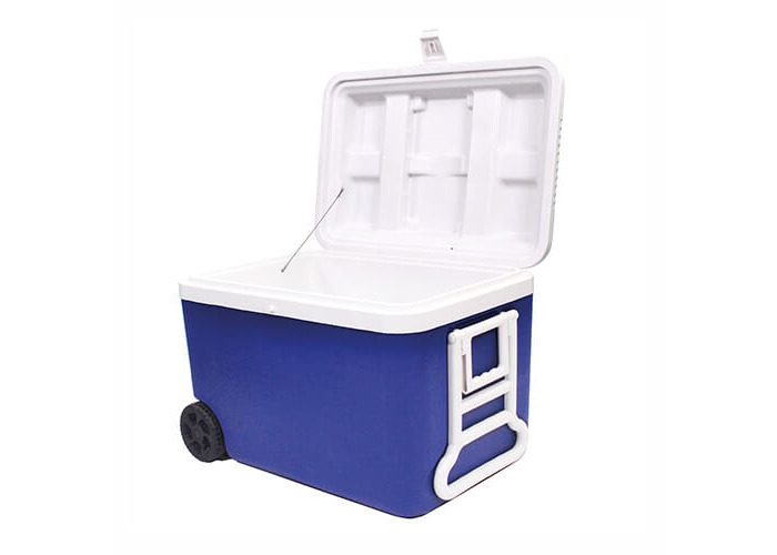 Epicurean Europe 1-Piece 45 x 43 x 65 cm 60 Litre Polypropylene Cool Box on Wheels, Blue and white - 2