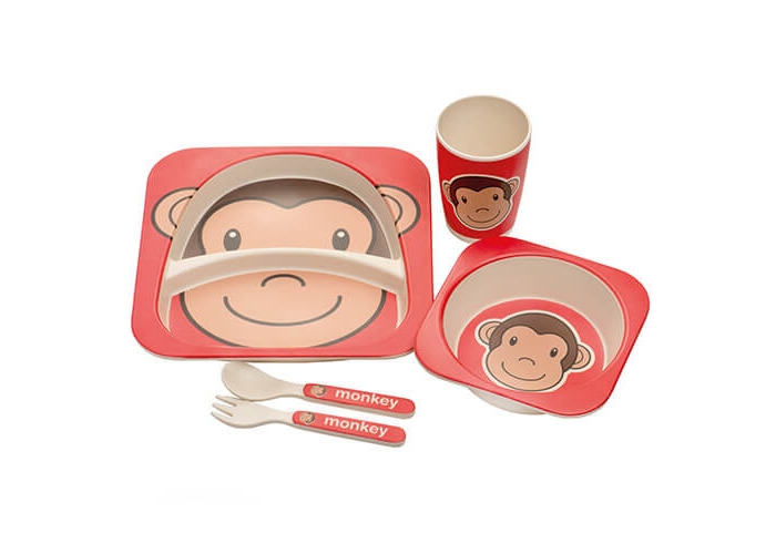 Epicurean Kids BPA Free Eco Bamboo 5 Piece Break Resistant Dinner Set in Monkey Design - 1