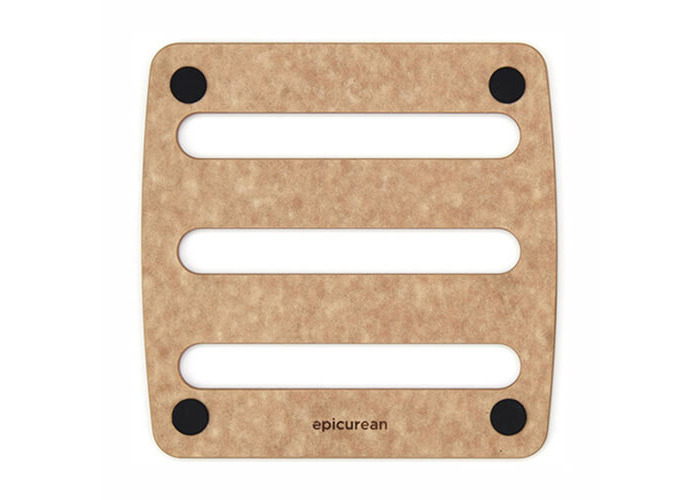"Epicurean Signature Wood Composite 7"" x 7"" Natural / Black Trivet - 1"