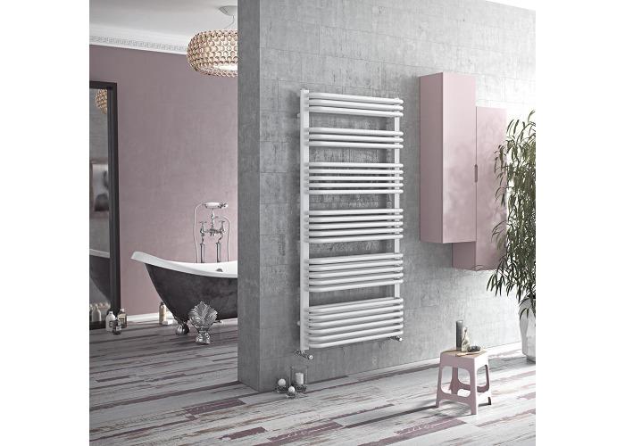 Eucotherm Magnus Vertical Designer Towel Rail, White | 870mm x 632mm - 1