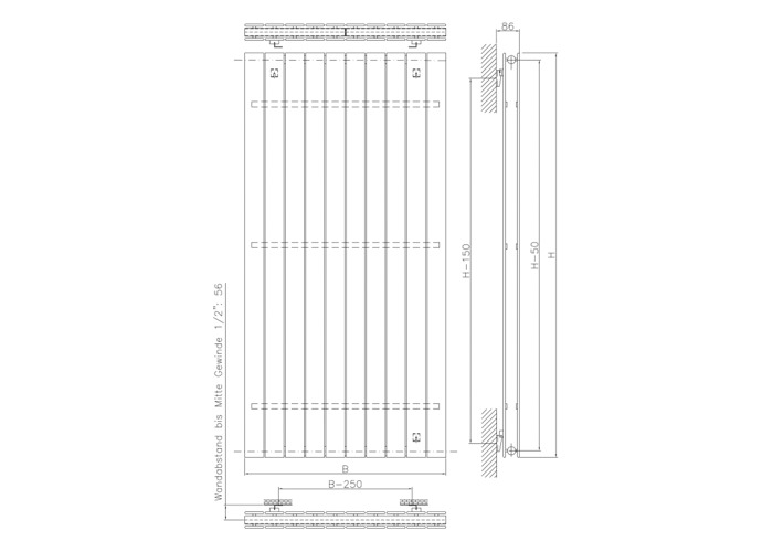 Eucotherm Mars Duo Vertical Double Flat Panel Designer Radiator, Anthracite | 1500mm x 595mm - 1