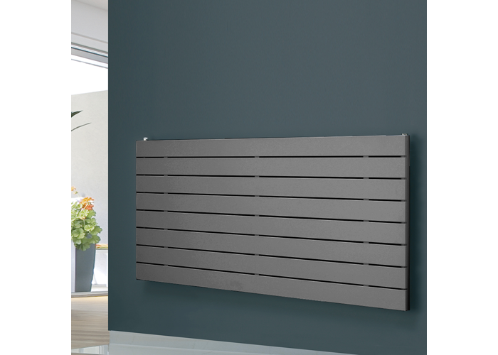 Eucotherm Mars Horizontal Single Flat Panel Designer Radiator, Anthracite | 595mm x 600mm - 1
