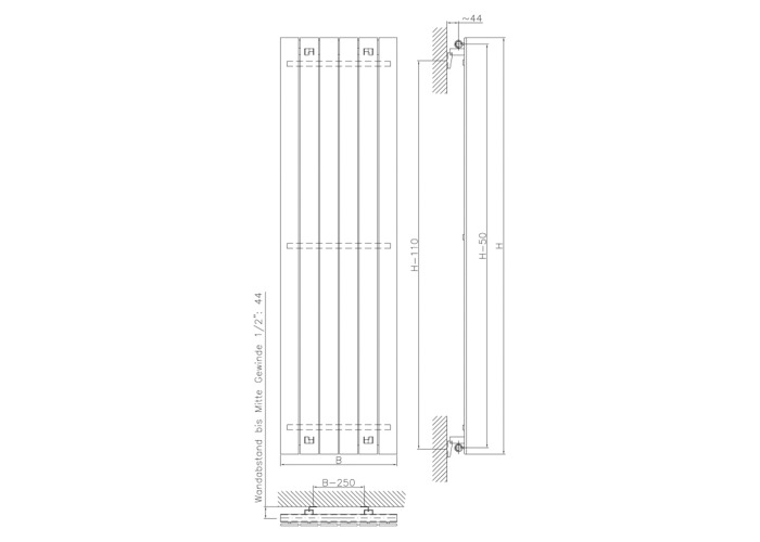 Eucotherm Mars Vertical Single Flat Panel Designer Radiator, White | 1500mm x 445mm - 1
