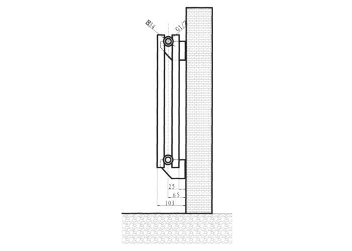 Eucotherm Nova Vertical Double Tube Designer Radiator, Anthracite   1800mm x 410mm - 1