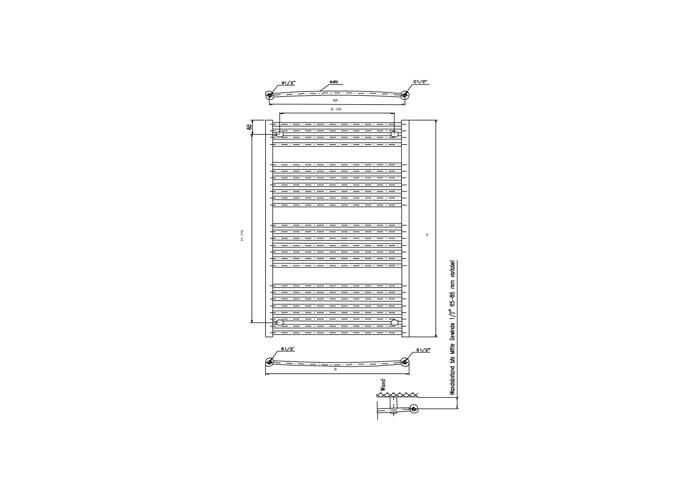 Eucotherm Zeus Vertical Designer Towel Rail, White | 1650mm x 596mm - 1