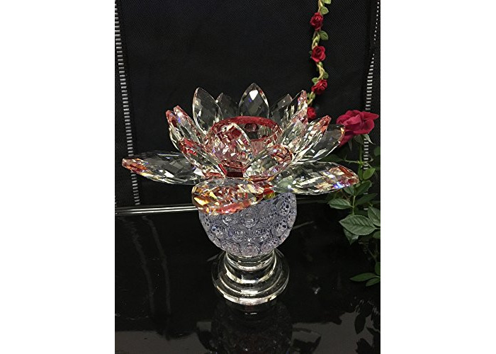 EXTRA LARGE BIG CRYSTAL CANDLE TEA LIGHT HOLDER LOTUS FLOWER PINEAPPLE SHAPE ORNAMENT WITH GIFT BOX CRYSTOCRAFT VARIOUS COLOURS - LOTUS (Red / Maroon) - 1