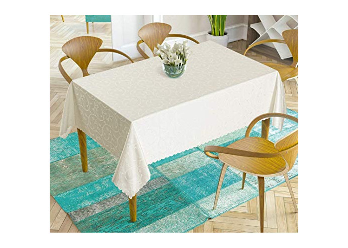 """Extra Large Luxury Cream Jacquard Tablecloth - water repellent 160 x 320cm [63"""" x 126""""] - 1"""