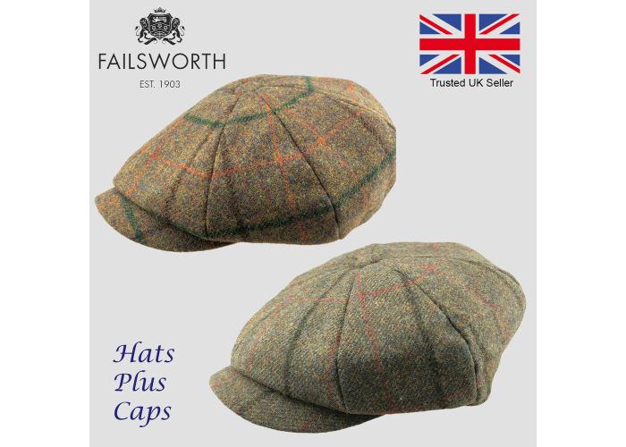 86daa1a4 Failsworth Alfie Peaky Blinders Newsboy Cap English Tweed 100% Wool Country  Hat - 1