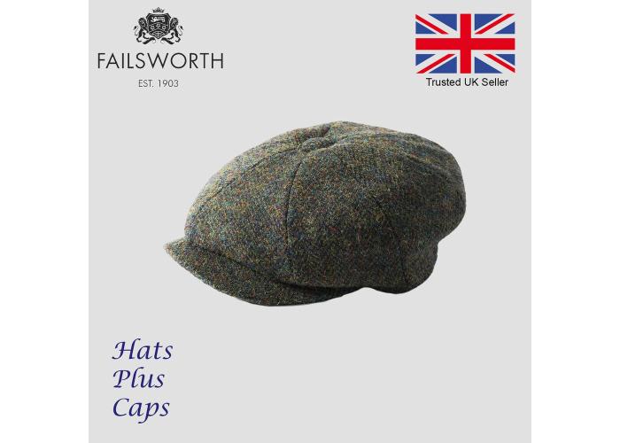 557f0253 Failsworth Carloway Dark Green HarrisTweed Newsboy Peaky Blinders Gatsby Cap  - 1