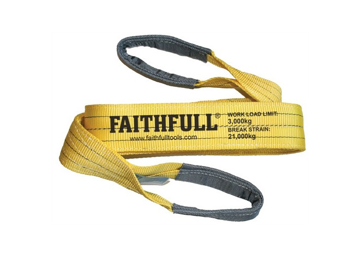 Faithfull XLP-03 2 METRE Lifting Sling Yellow 3 Tonne 90mm x 2m - 1
