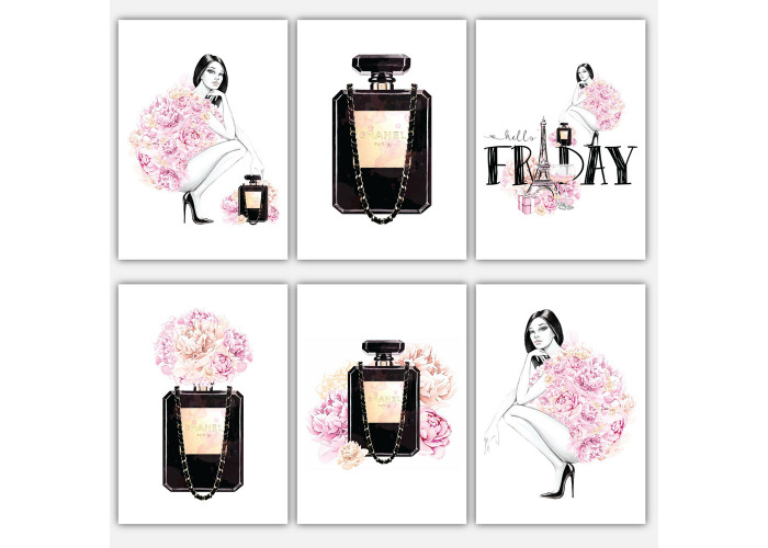 Fashion GIRL Perfume PEONIES collection pink SKETCH Wall Art Print Decor 3 for 2 - 1
