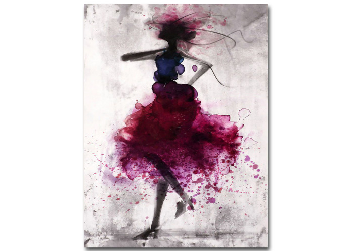 Fashion Red Girl Minimalist Abstract Art Canvas Oil Print Paintings Framed/Unframed - 1
