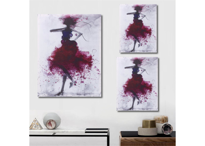 Fashion Red Girl Minimalist Abstract Art Canvas Oil Print Paintings Framed/Unframed - 2