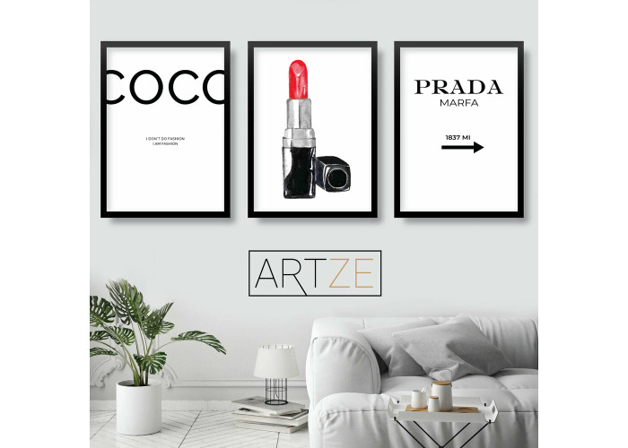 Buy Fashion Set Of 3 Black White Coco Chanel Quote Prada Lipstick Wall Art Print Fat Llama