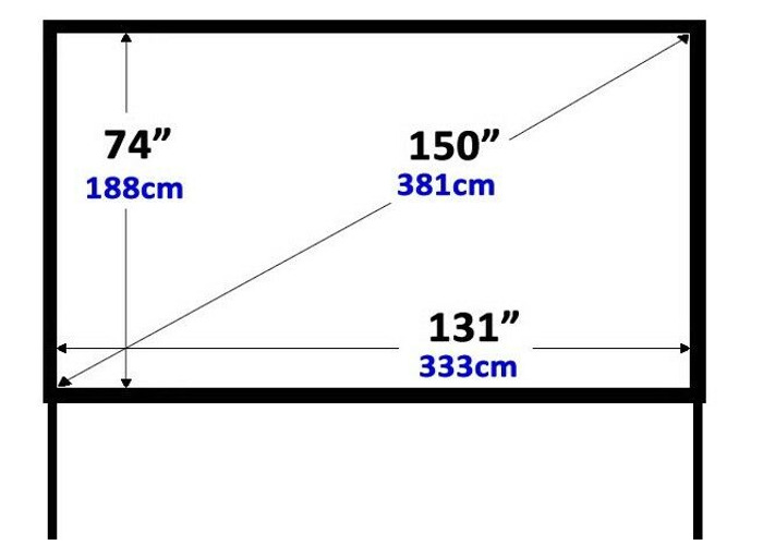 Fast Fold Projection Screen, 150″ 16:9, Front + Rear - 2