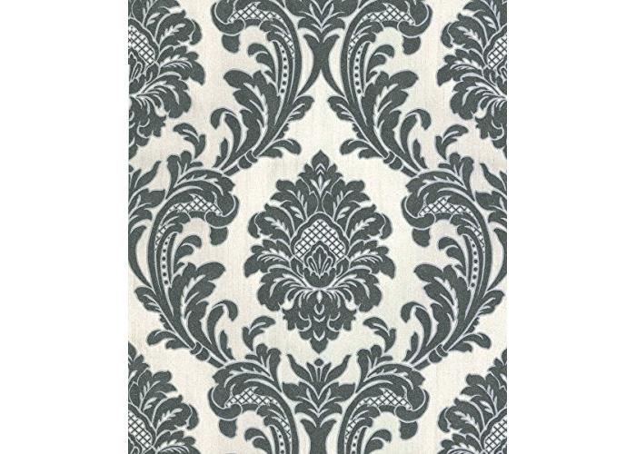Fine Decor Fine Decor Milano Wallpaper M95584 - Italian Vinyl Glitter Damask White Black - 1