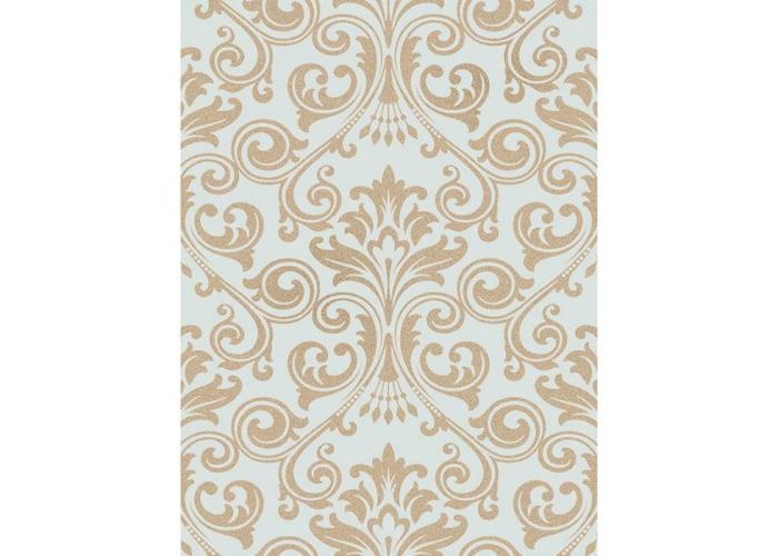 Fine Decor Wentworth Glitter Wallpaper Damask Duck Egg & Gold FD41709 - 1