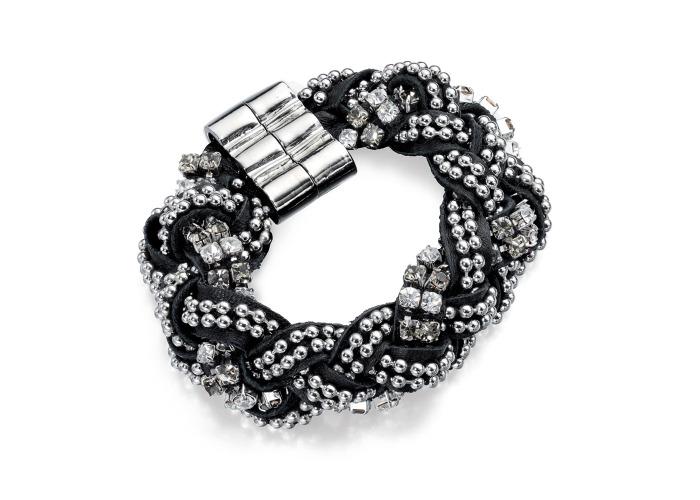 Fiorelli Clear Crystal Black Leather Plait Bracelet - 1
