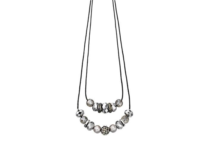 Fiorelli Multi Glass Bead Double Black Cord Necklace - 1