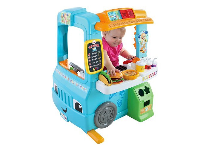 Fisher-Price Laugh & Learn Servin' Up Fun Food Truck With 14 Removable Play Pieces - 1