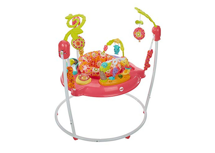 Fisher-Price Petals Jumperoo, New-born Baby Activity Centre with Music and Lights, Pink - 1