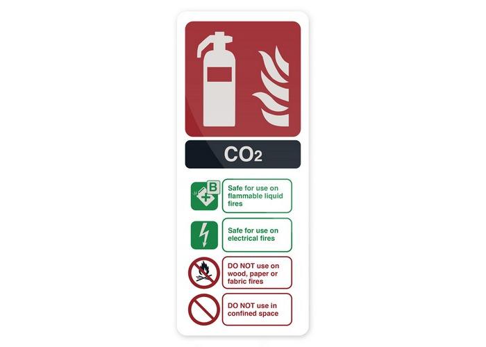 Fixman 683625 CO2 EN3 Fire Extinguisher Sign 202 x 82mm Rigid - 1