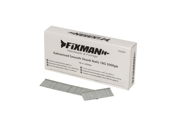 Fixman 856869 Galvanised Smooth Shank Nails 18G 19 x 1.25mm Pack of 5000 - 1