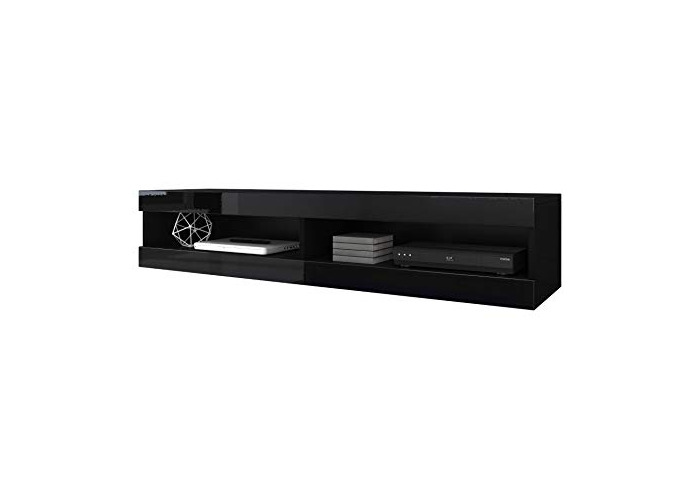 Floating TV Unit Cabinet Stand Volant 150 cm (body matt Black/Front Black High Gloss) (Without LED) - 1