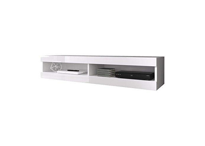 Floating TV Unit Cabinet Stand Volant 150 cm (body matt White/Front White High Gloss) (With LED) - 1