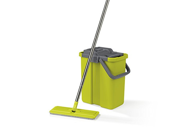 Floor Cleaning System - Comfort Mop And Bucket Set With 2 Chamber System - Convenient Wringer Mechanism, Keeps Your Hands Clean (New Model 2018) - 1