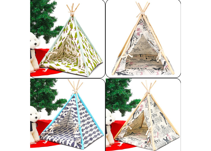 Foldable Linen Pet Dog House Washable Tent Puppy Cat Indoor Outdoor Teepee Mat - 2