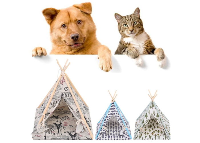 Foldable Linen Pet Dog House Washable Tent Puppy Cat Indoor Outdoor Teepee Mat - 1